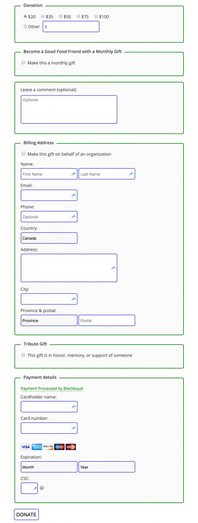 Blackbaud Online Express form styling